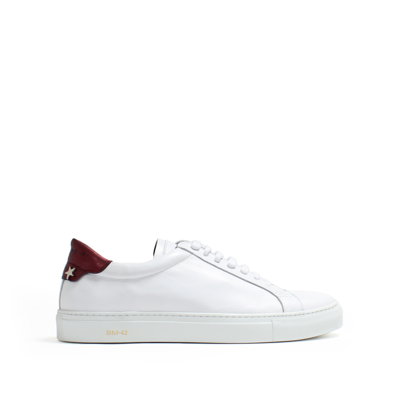 MEN SNEAKERS OSCAR LEATHER WHITE+BURDEOS