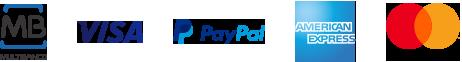 Métodos de pagamento: - MB - Visa - PayPal - American Express - Mastercard