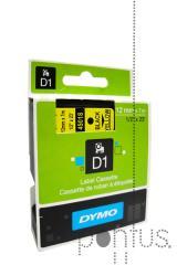 Fita Dymo D1 12mmx7m preto/amarelo