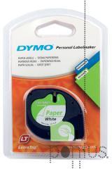 Fita de papel p/Dymo Letratag 12mmx4m preto/branc