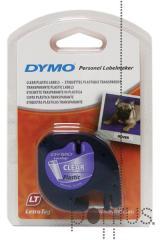 Fita de plástico p/Dymo Letratag 12mmx4m preto/tr