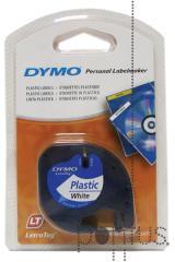 Fita de plástico p/Dymo Letratag 12mmx4m preto/br
