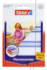 Etiquetas Tesa permanentes 5216 c/esq azul 34x75mm