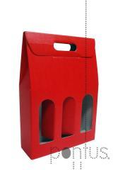 Caixa de cartão vermelha p/3 garrafas 270x90x400