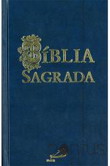 Bíblia Sagrada Paulus (média encadernada azul)