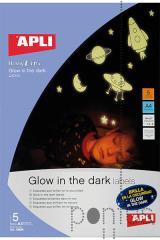 Papel adesivo Apli brilha no escuro A4 5f