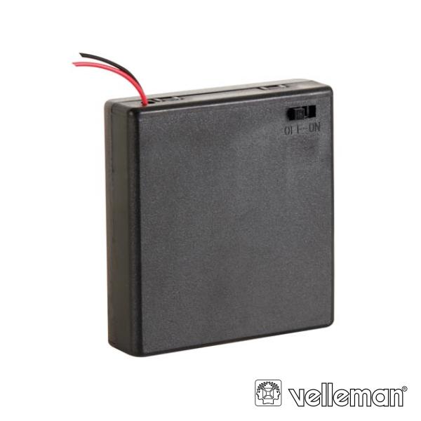 Suporte P/ 4 Pilhas Aa C/ Fios C/ Interruptor On/Off Fechado