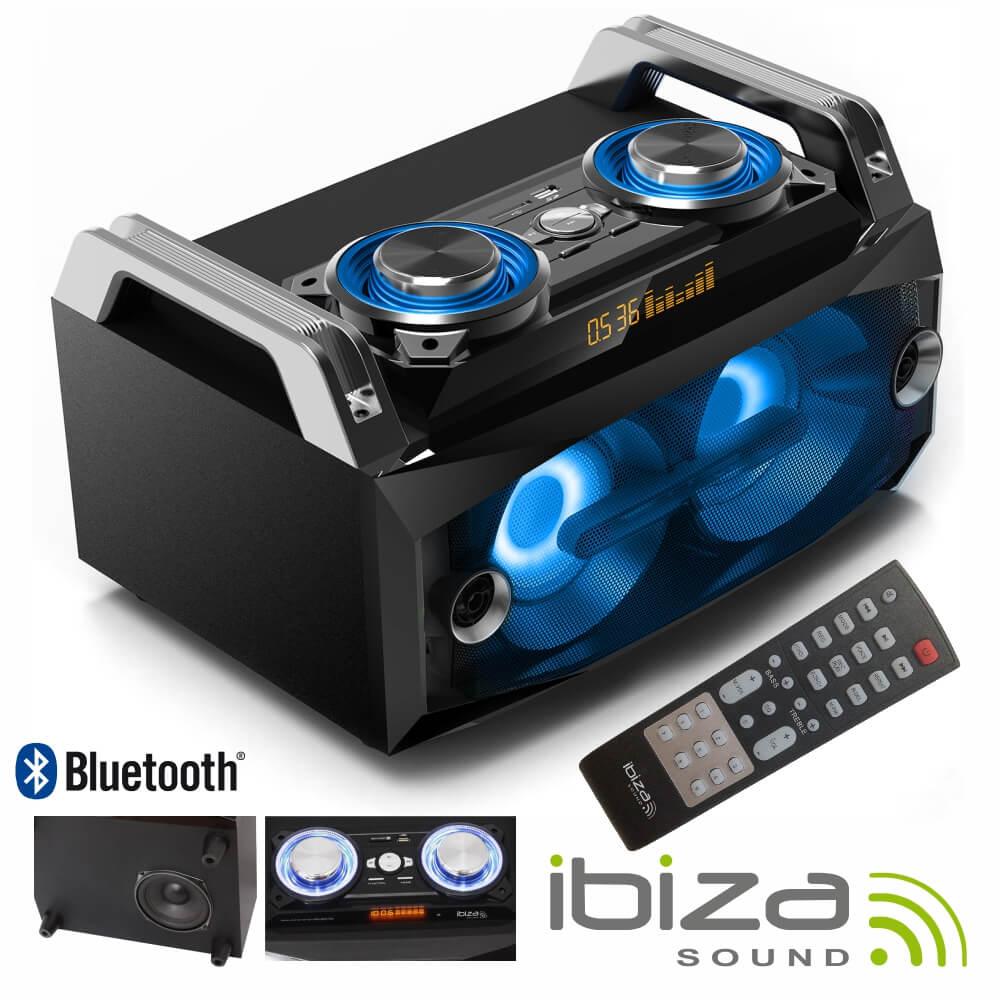 Sistema De Som Portátil 120w Usb/Bt/Fm/Rec Leds Ibiza