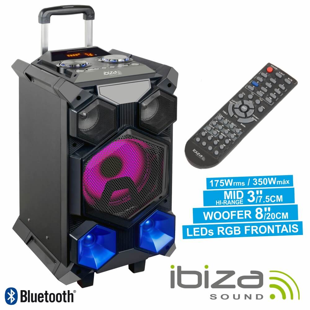 Coluna Amplificada 8 350w Usb/Fm/Bt/Sd/Bat Ibiza