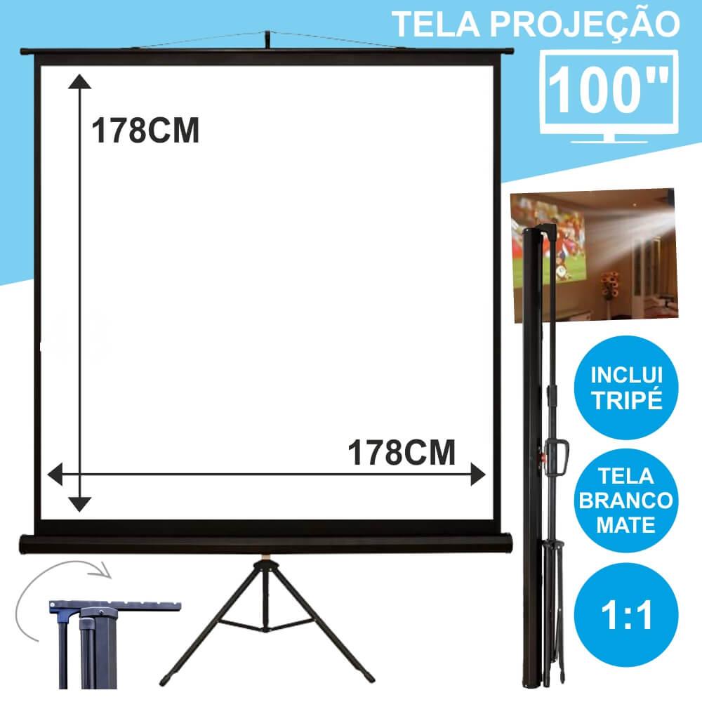 Tela Projeção Com Suporte Tripé 100 178x178cm 1:1