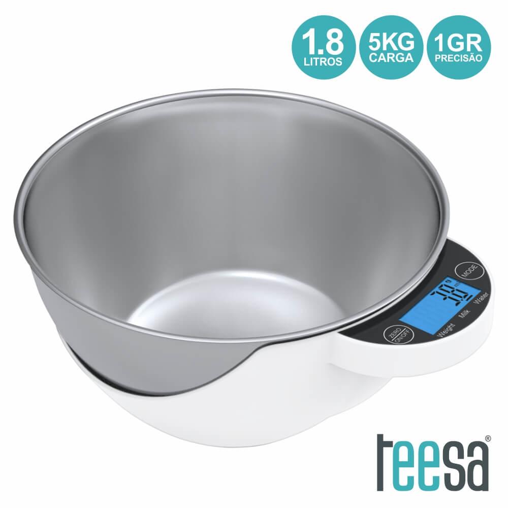 Balança Digital de Cozinha 5Kg c/ Recipiente 1,8L - TEESA