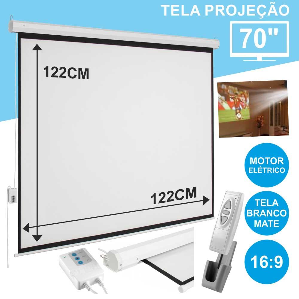 Tela Projeção Elétrica Teto/Parede 70 127x127cm 1:1