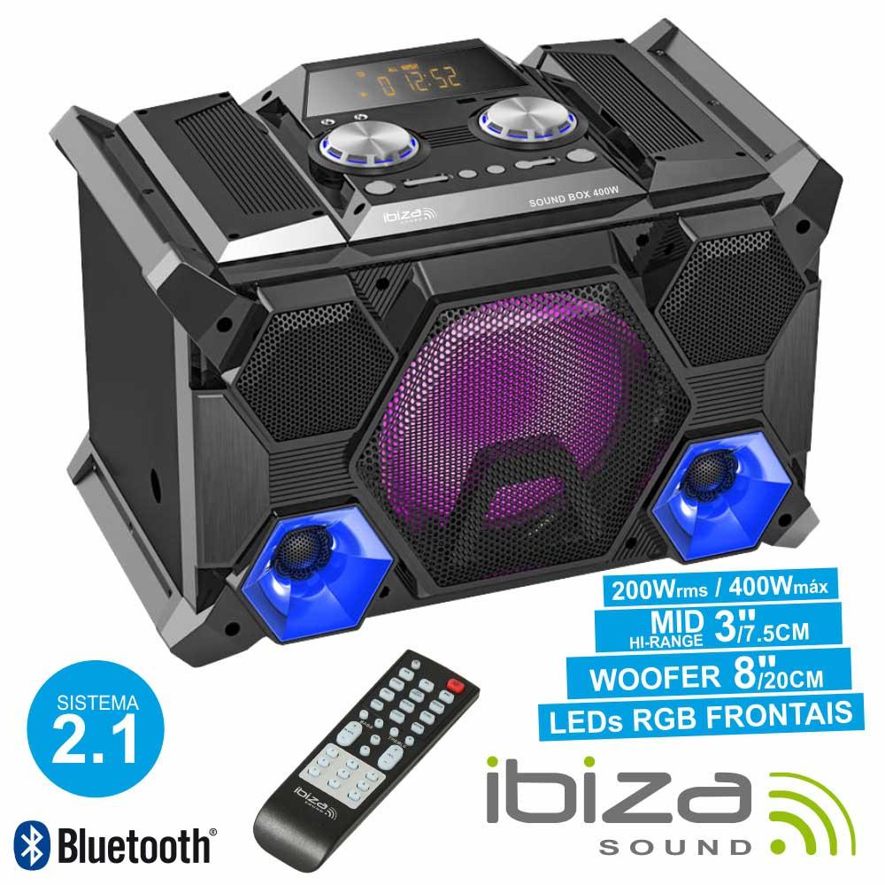 Sistema Som Portátil 400wmáx Usb/Bt/Fm/Rec Leds Ibiza