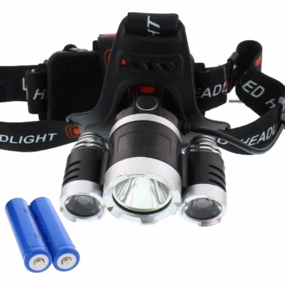 Lanterna De Cabeça T6 + R5 3 Leds 350lm