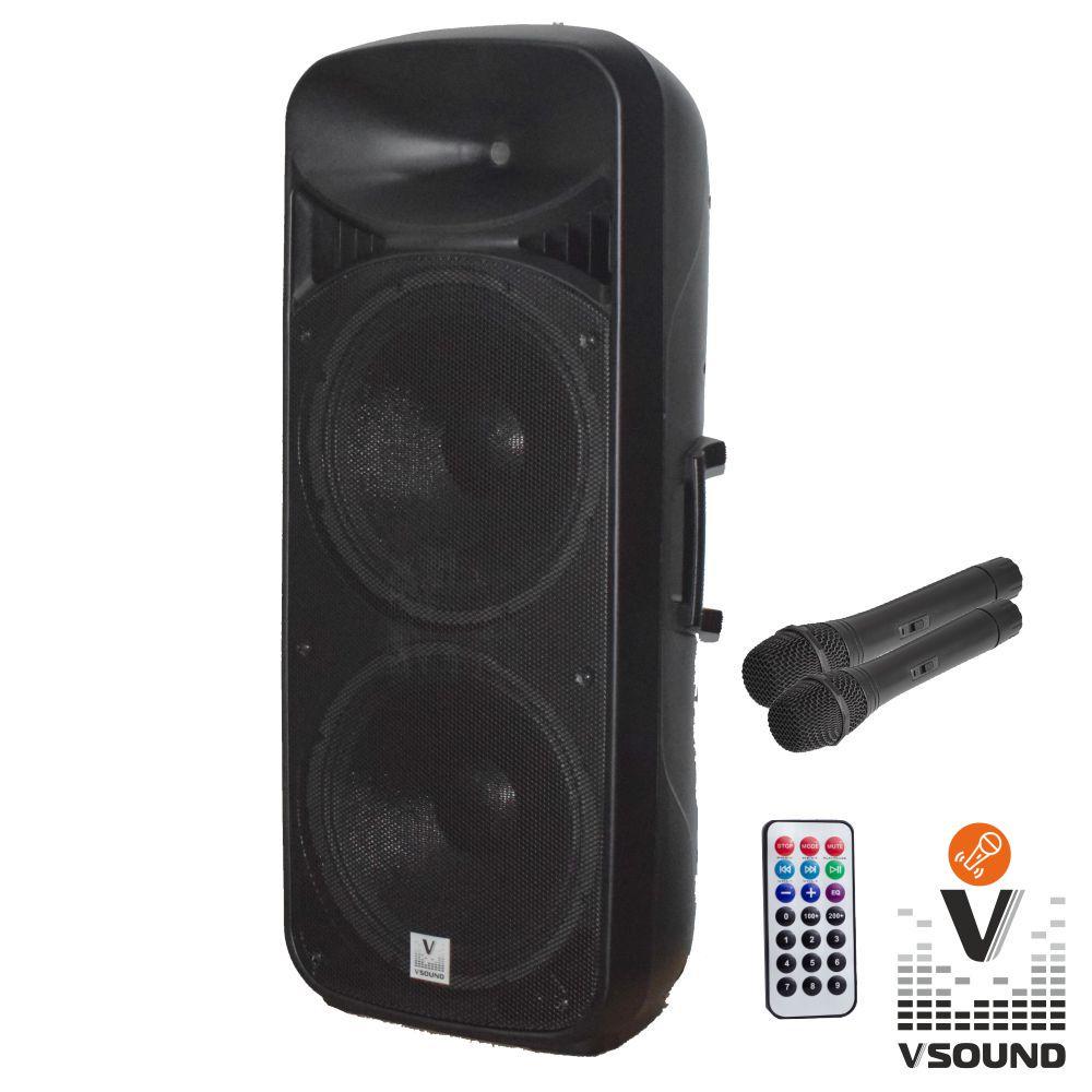 Coluna Amplificada 2x15 USB/FM/BT/SD/BAT MIC LEDS VSOUND